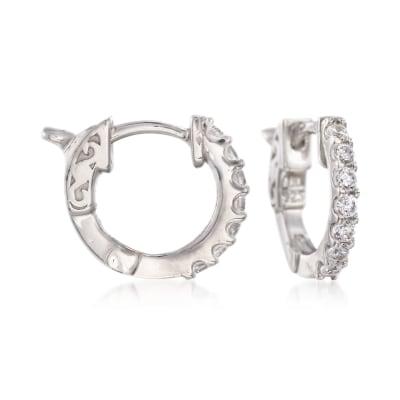 .30 ct. t.w. CZ Huggie Hoop Earrings in Sterling Silver
