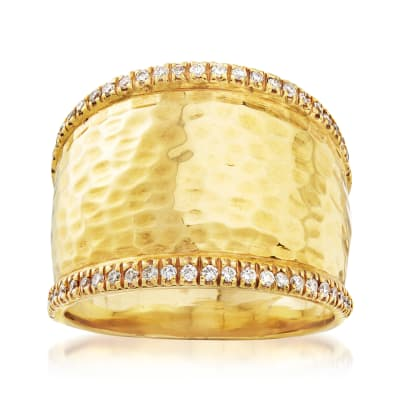 Mazza .25 ct. t.w. Diamond Wide Ring in 14kt Yellow Gold