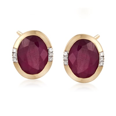 4.60 ct. t.w. Oval Ruby Earrings with Diamond Accents in 14kt Yellow Gold