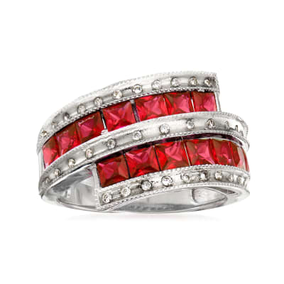 2.10 ct. t.w. Simulated Ruby and .50 ct. t.w. CZ Ring in Sterling Silver