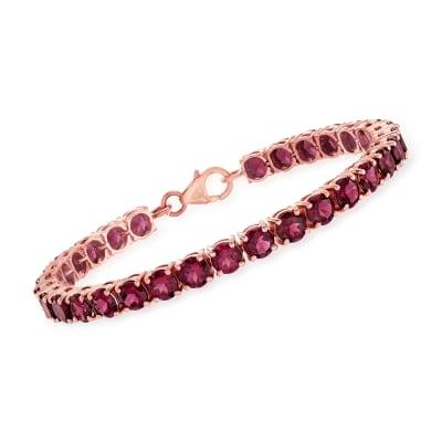 17.00 ct. t.w. Rhodolite Garnet Tennis Bracelet in 18kt Rose Gold Over Sterling