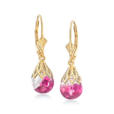 1.20 ct. t.w. Floating Ruby Drop Earrings in 14kt Yellow Gold