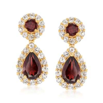 3.60 ct. t.w. Garnet and 1.40 ct. t.w. White Topaz Earrings in 18kt Gold Over Sterling