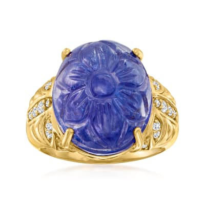 15.00 Carat Blue Tanzanite Ring with .19 ct. t.w. Diamonds in 18kt Yellow Gold