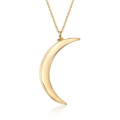 14kt Yellow Gold Crescent Moon Necklace