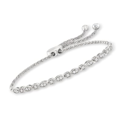 .25 ct. t.w. Diamond Square and Marquise-Shaped Bolo Bracelet in Sterling Silver