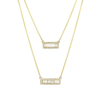.67 ct. t.w. Round and Baguette Diamond Double-Bar Necklace in 14kt Yellow Gold