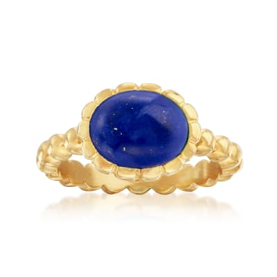 Italian 10x8mm Oval Lapis Ring in 18kt Gold Over Sterling