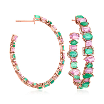 7.25 ct. t.w. Pink Sapphire and 7.00 ct. t.w. Emerald C-Hoop Earrings with .30 ct. t.w. Diamonds in 18kt Rose Gold