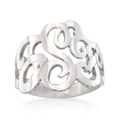 Sterling Silver Open Script Monogram Ring