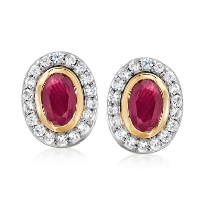1.30 ct. t.w. Ruby and .50 ct. t.w. White Zircon Earrings in Sterling Silver and 14kt Yellow Gold