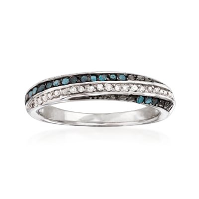 .18 ct. t.w. Blue and White Diamond Ring in Sterling Silver