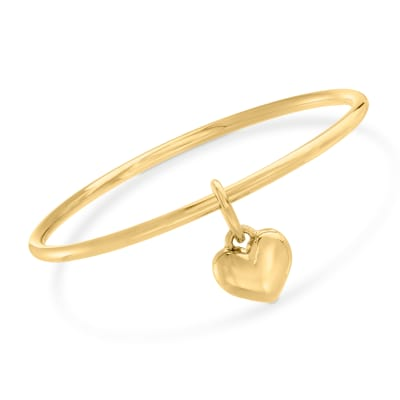Italian Andiamo 14kt Yellow Gold Over Resin Heart Charm Bangle Bracelet