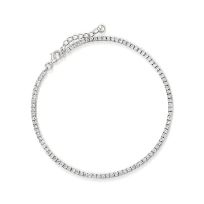 2.70 ct. t.w. CZ Tennis Anklet in Sterling Silver