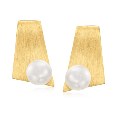 7-7.5mm Cultured Pearl Bar Earrings in 18kt Gold Over Sterling
