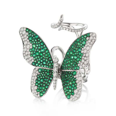 3.90 ct. t.w. Emerald and 1.85 ct. t.w. Diamond Butterfly Ring in 18kt White Gold