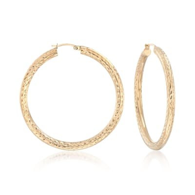 14kt Yellow Gold Diamond-Cut Hoop Earrings
