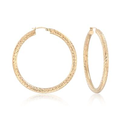 14kt Yellow Gold Diamond-Cut Hoop Earrings
