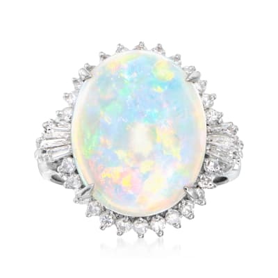 C. 1990 Vintage Opal Ring with .48 ct. t.w. Diamonds in Platinum