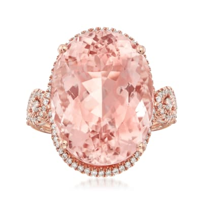 18.00 Carat Pink Morganite and .45 ct. t.w. Diamond Ring in 14kt Rose Gold