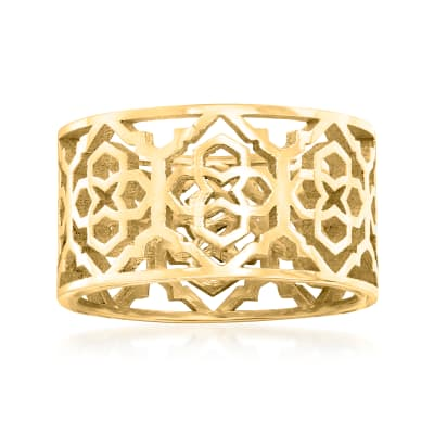 Italian 18kt Gold Over Sterling Openwork Patterned Ring