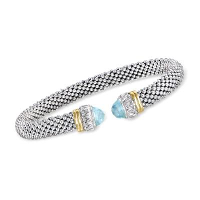 """Phillip Gavriel """"Popcorn"""" .60 ct. t.w. Sky Blue Topaz Cuff Bracelet in Sterling Silver with 18kt Yellow Gold"""