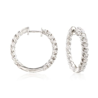 .75 ct. t.w. Diamond Spiral Hoop Earrings in Sterling Silver