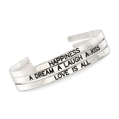 Sterling Silver Jewelry Set: Three Inspirational Cuff Bangle Bracelets