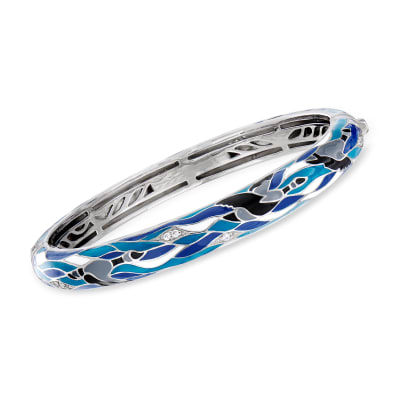 "Belle Etoile ""Migration"" Enamel and .27 ct. t.w. CZ Bangle Bracelet in Sterling Silver"