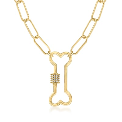 .20 ct. t.w. White Topaz Dog Bone Carabiner-Link Paper Clip Link Necklace in 18kt Gold Over Sterling
