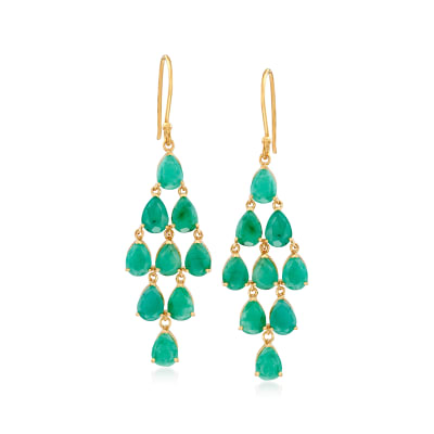 11.00 ct. t.w. Emerald Chandelier Earrings in 18kt Gold Over Sterling