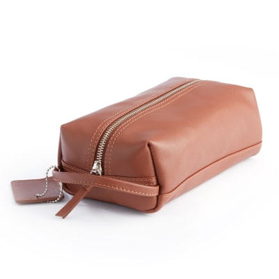 Royce Tan Leather Compact Toiletry Bag