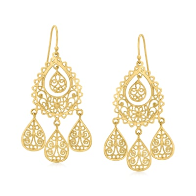 18kt Gold Over Sterling Filigree Teardrop Earrings