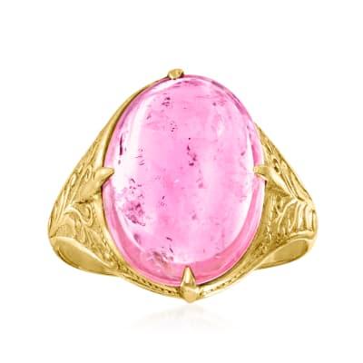 C. 1950 Vintage 8.75 Carat Pink Tourmaline Ring in 22kt Yellow Gold