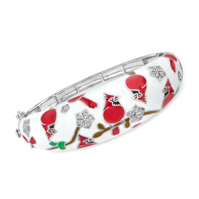.40 ct. t.w. White Topaz and Multicolored Enamel Cardinal Bangle Bracelet in Sterling Silver