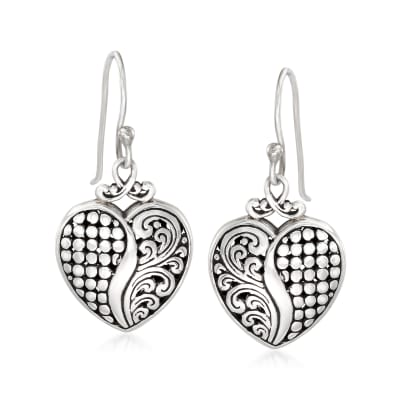 Bali-Style Sterling Silver Heart Drop Earrings