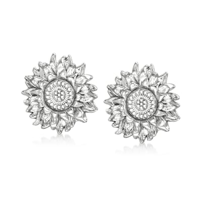 Italian Sterling Silver Sunflower Earrings