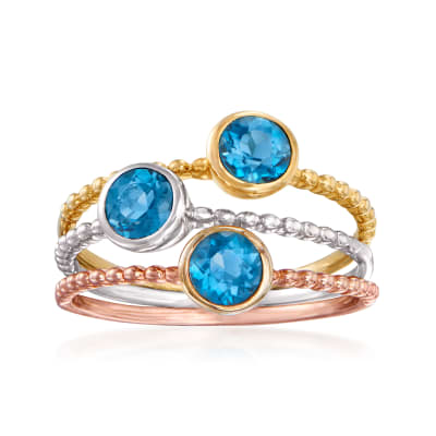 1.50 ct. t.w. Blue Topaz Jewelry Set: Three Rings in Sterling Silver and 18kt Yellow and Rose Gold Over Sterling