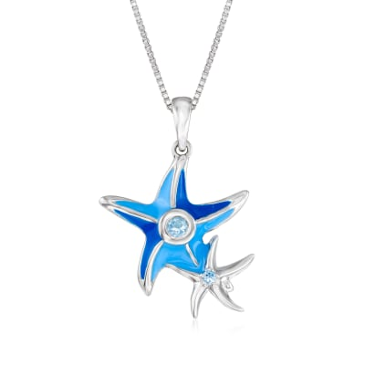 Blue Enamel and Blue Topaz-Accented Starfish Pendant Necklace in Sterling Silver