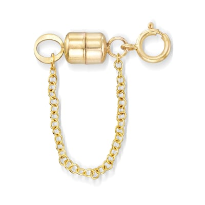Italian 14kt Yellow Gold Magnetic Clasp Converter with Safety Chain