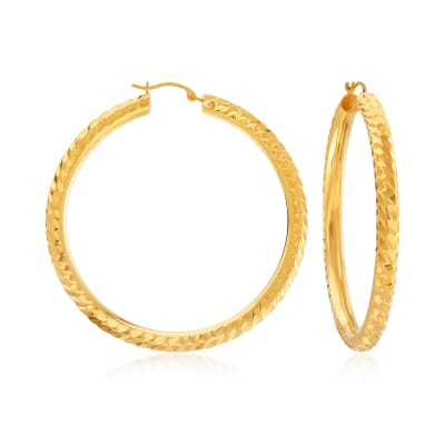Andiamo 14kt Yellow Gold Over Resin Twisted Hoop Earrings