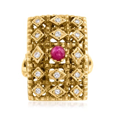 C. 1980 Vintage Lalaounis .65 Carat Ruby and .20 ct. t.w. Diamond Ring in 18kt Yellow Gold