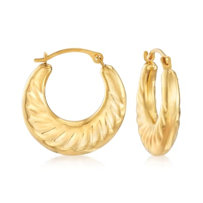 Andiamo 14kt Yellow Gold Over Resin Scalloped Hoop Earrings