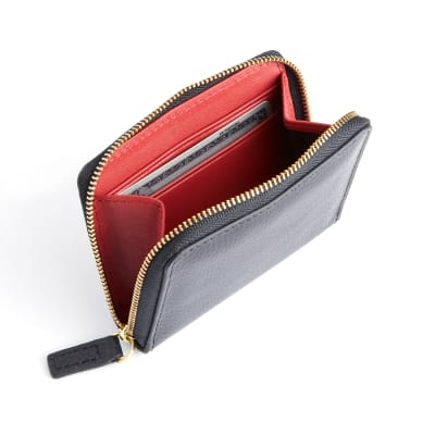 Royce Black and Red Leather Zip-Around Wallet
