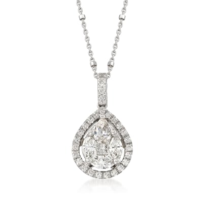 1.06 ct. t.w. Diamond Halo Pendant Necklace in 14kt White Gold
