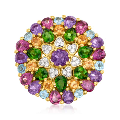 5.20 ct. t.w. Multi-Gemstone Flower Ring in 18kt Gold Over Sterling
