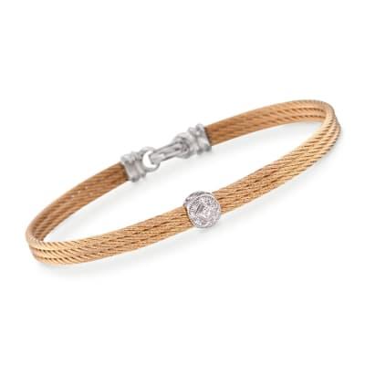 "ALOR ""Classique"" Diamond Station Yellow Cable Bracelet with 18kt White Gold"