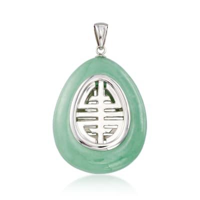 Green Jade Teardrop Pendant Necklace in Sterling Silver