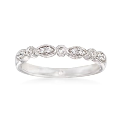 Gabriel Designs .11 ct. t.w. Diamond Wedding Ring in 14kt White Gold