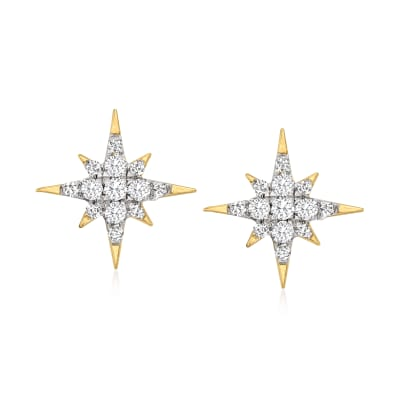 .15 ct. t.w. Diamond Star Stud Earrings in 14kt Yellow Gold